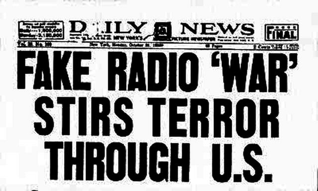 War of the Worlds news headline